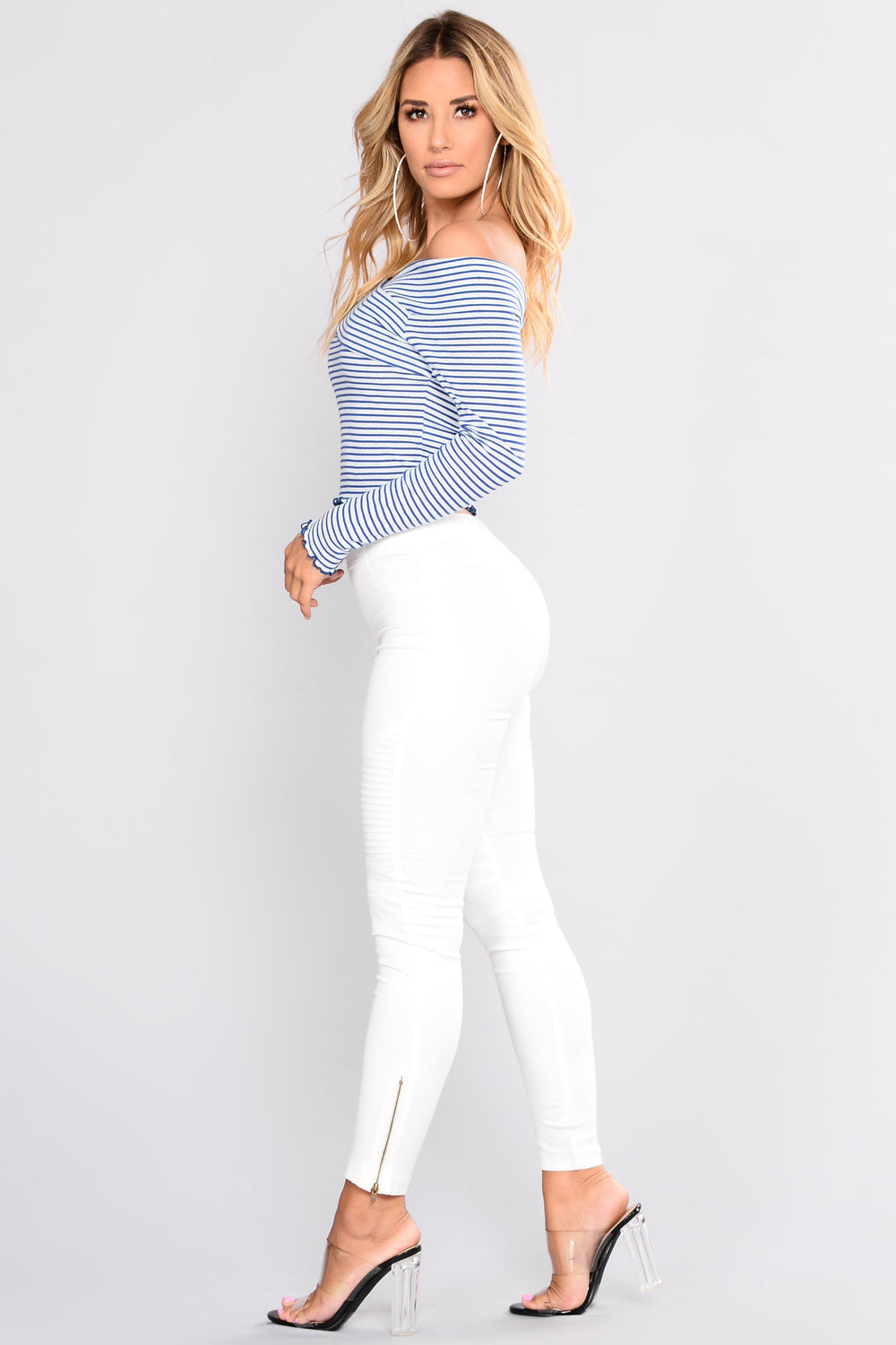 Christy Striped Top - Blue Combo