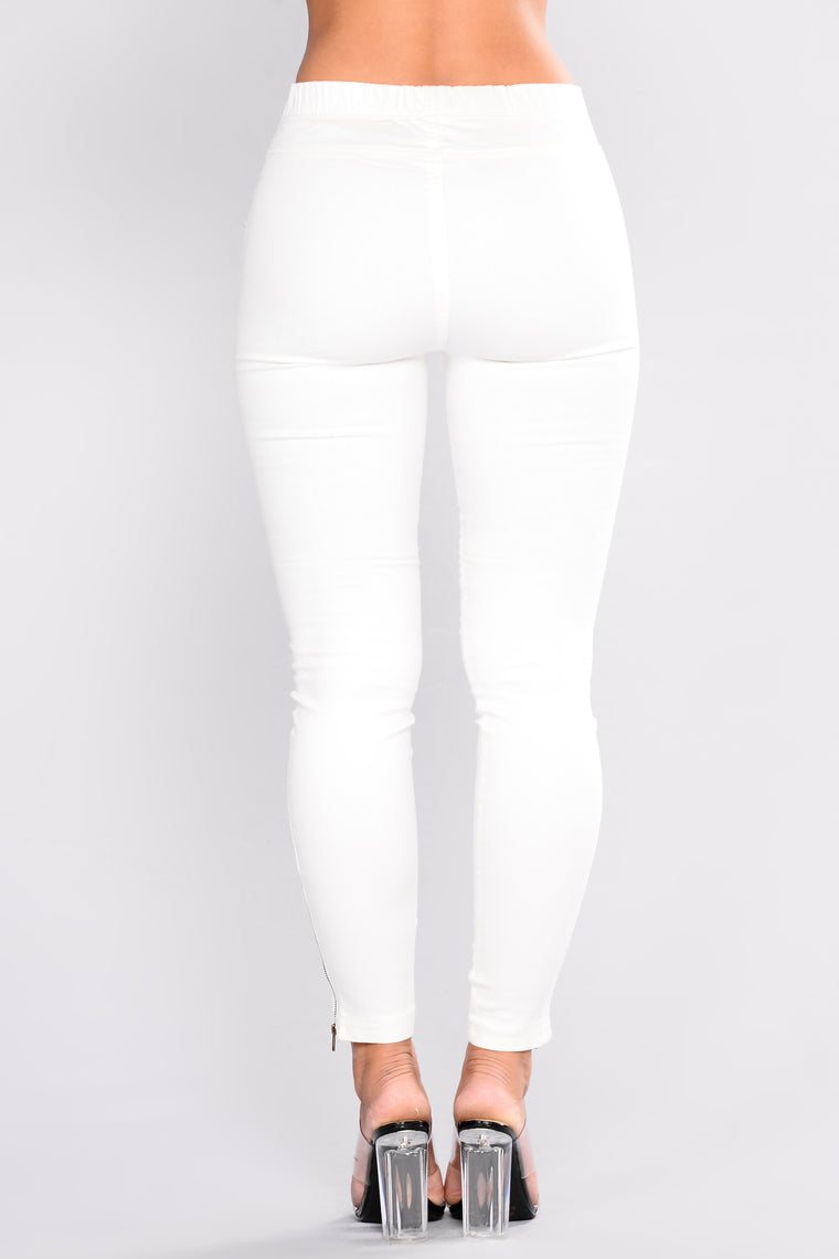 Classic Motto Twill Pants - White