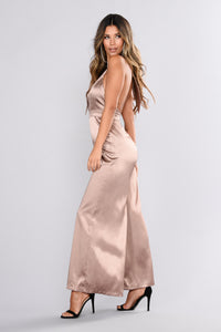 Luxurious Evening Jumpsuit - Rose Gold