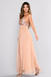 Sophisticated Fun Sequin Dress - Rose Gold