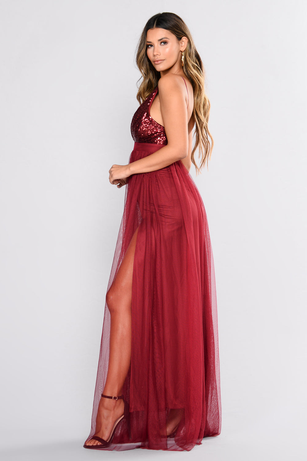 Starry Eyed Sequin Dress - Wine