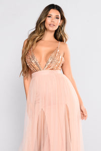 Starry Eyed Sequin Dress - Rose Gold