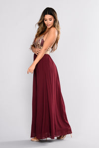 Treasured Embroidered Dress - Gold/Wine