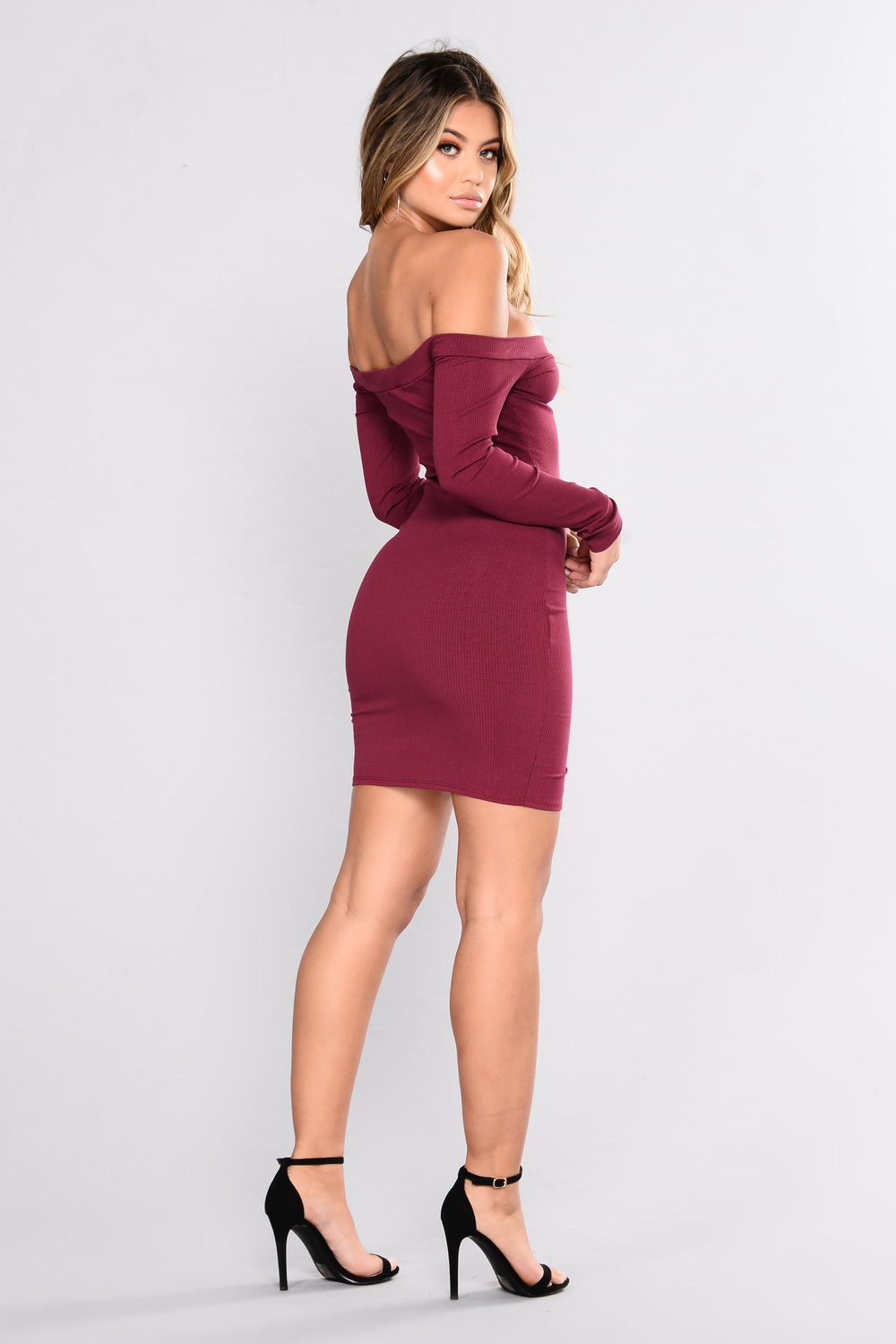 Fool In Love Off The Shoulder Dress - Wine