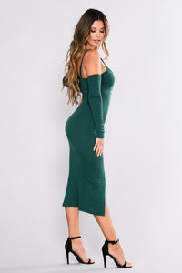 Hallee Snap Button Dress - Hunter Green