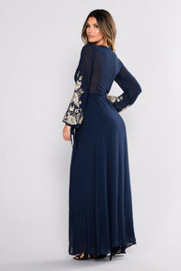 Trophy Wife Embroidered Dress - Navy
