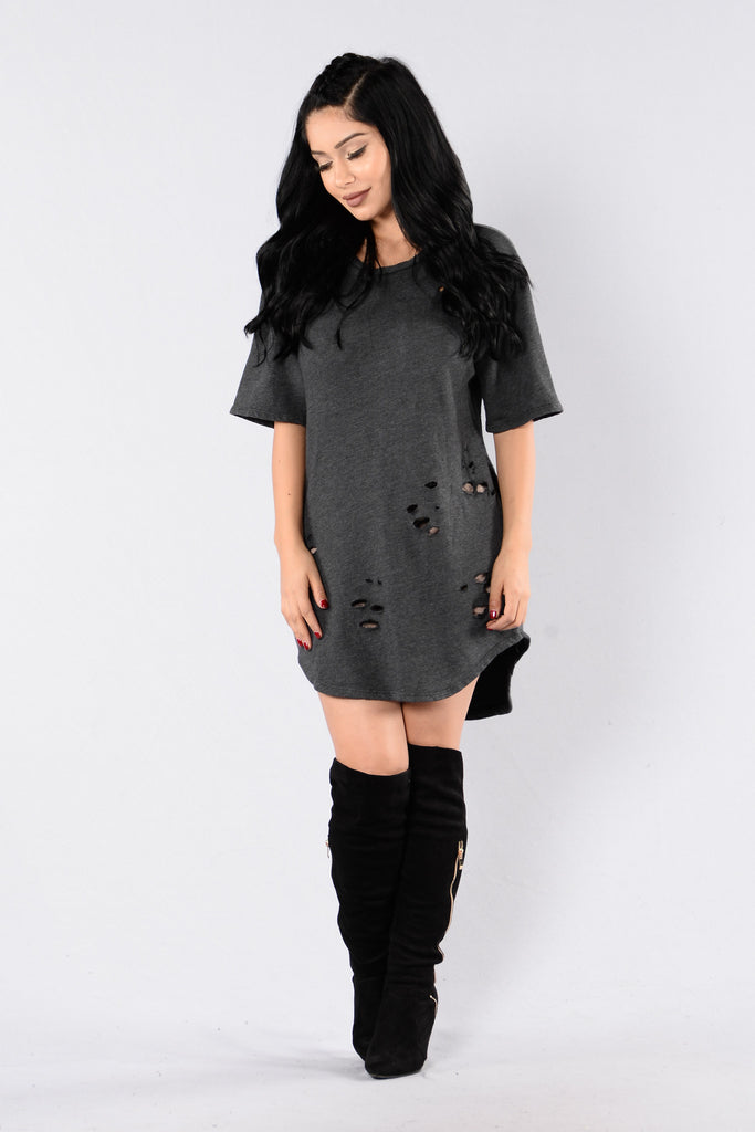 Only Yesterday Dress - Charcoal
