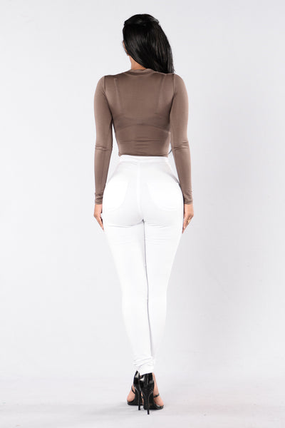 See You On the Flipside Bodysuit - Mocha