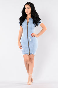 Genie Denim Dress - Light Blue