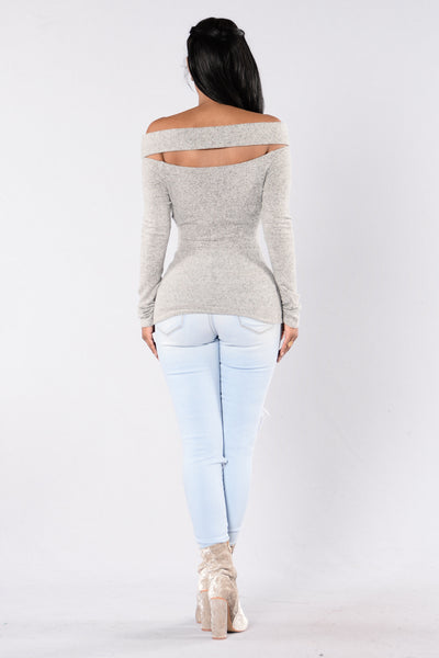 Cut It Off Sweater - Heather Grey