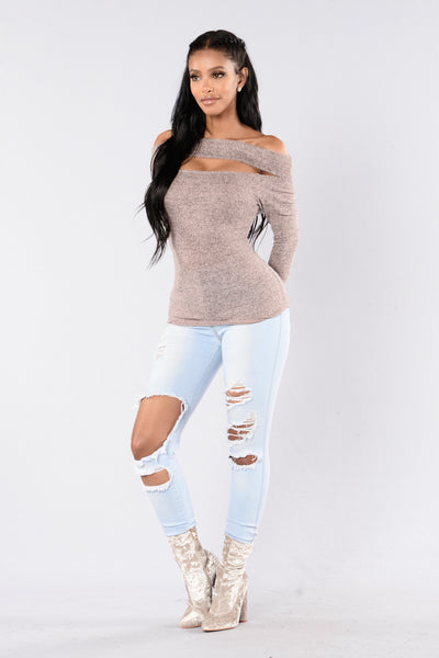 Cut It Off Sweater - Heather Pink
