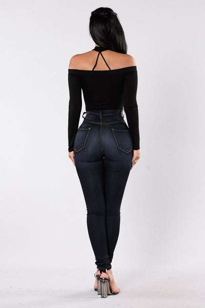 Brush It Off Bodysuit - Black