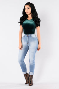 Bet On Velvet Top - Hunter Green