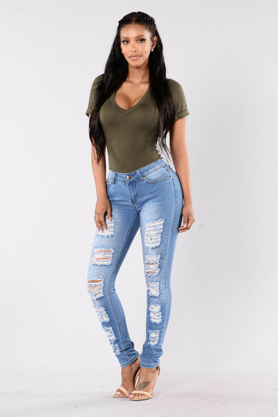 Press For Distress Jeans - Medium Blue