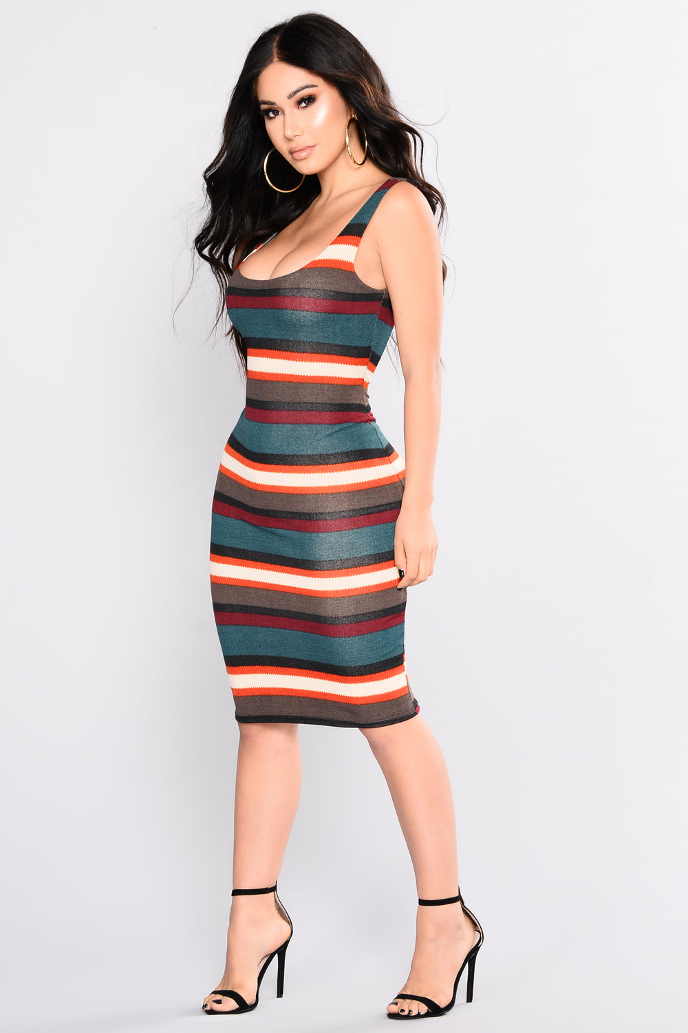 A Striped Story Midi Dress -  Hunter Multi