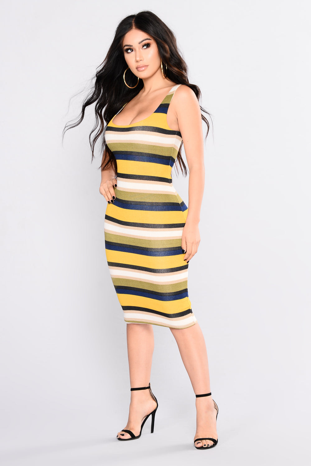 A Striped Story Midi Dress - Mustard Multi