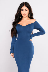Chloah Off Shoulder Dress - Teal
