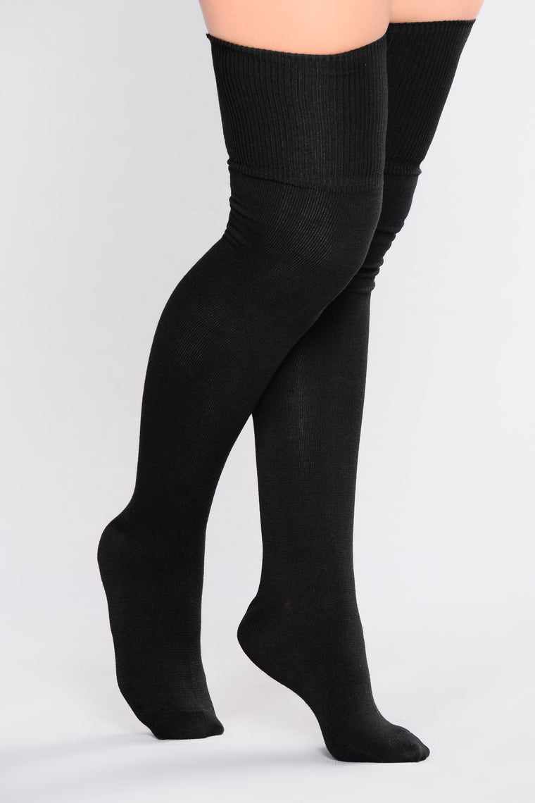 High Over You Over The Knee Socks - Black
