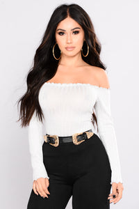 Christa Off Shoulder Top - White Angle 1