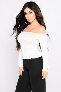 Christa Off Shoulder Top - White Angle 3