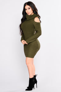 Thea Sweater Dress - Olive