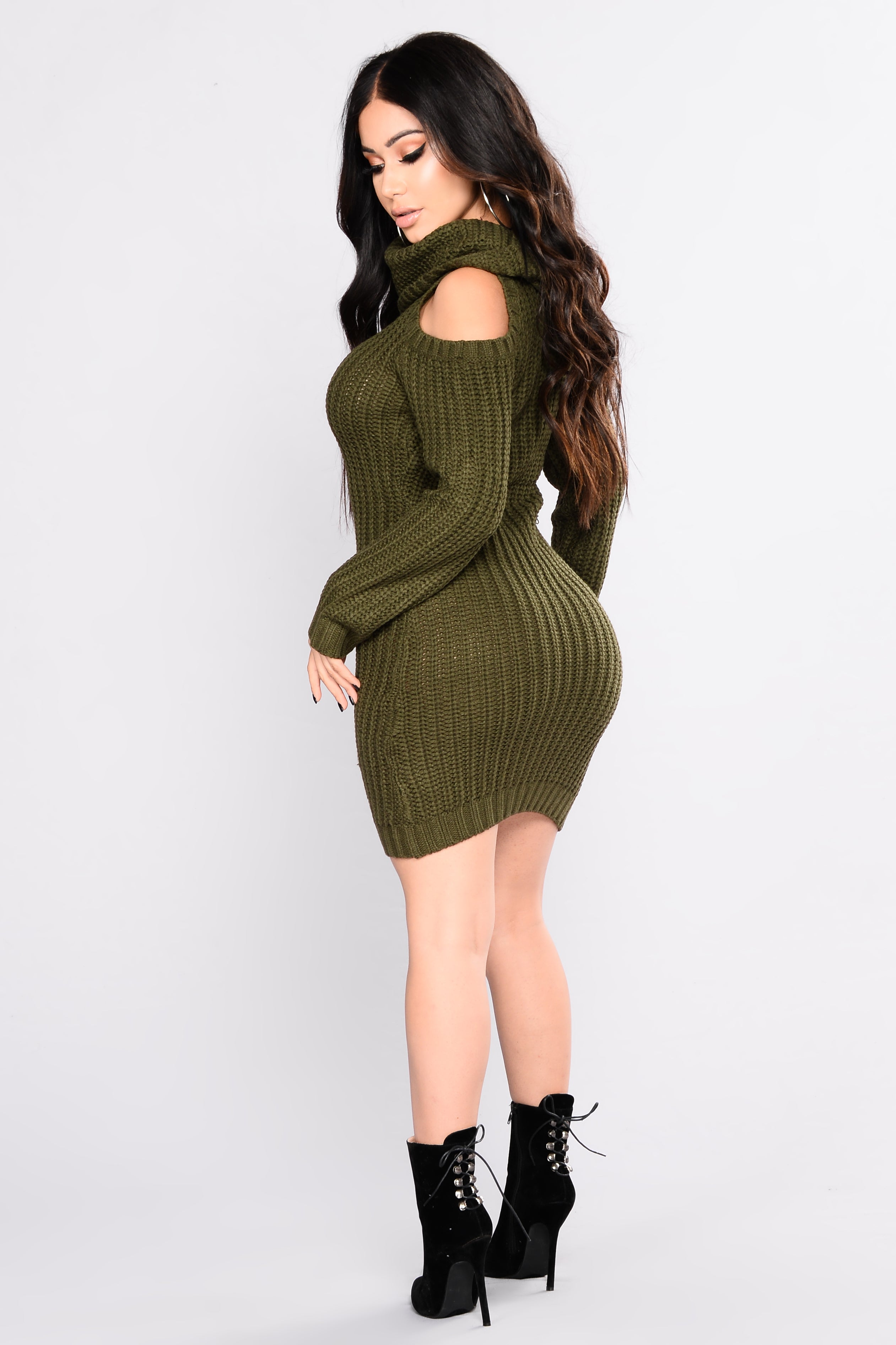 Thea Sweater Dress - Olive cbb5ec342