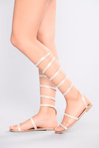 Jeweled Spiral Sandal - Rose Gold