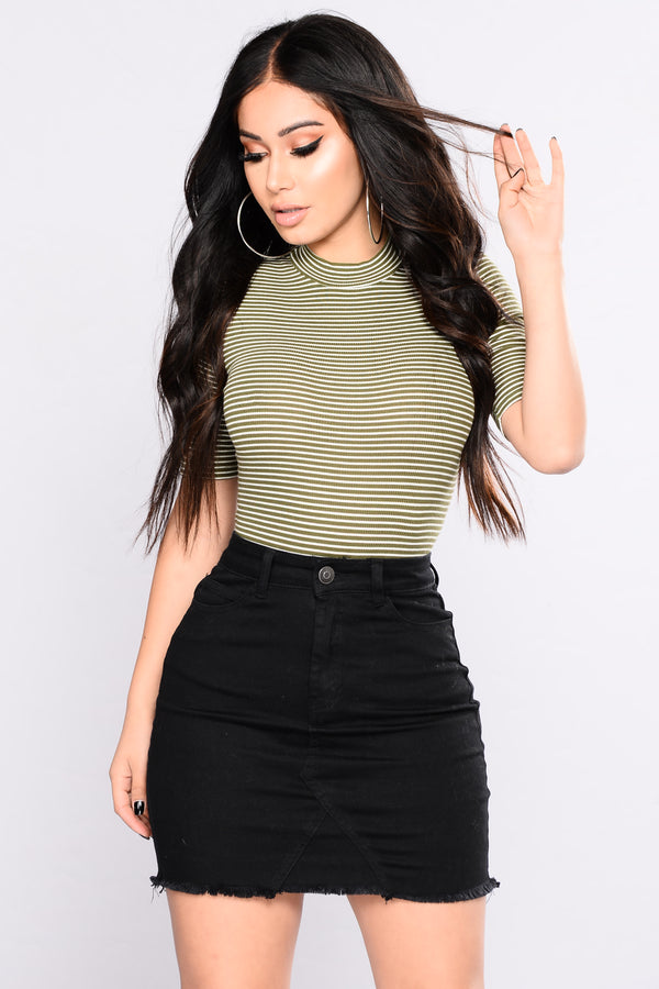 1b41845fc Ahead Of Yourself Stripe Bodysuit - New Olive / Soft White