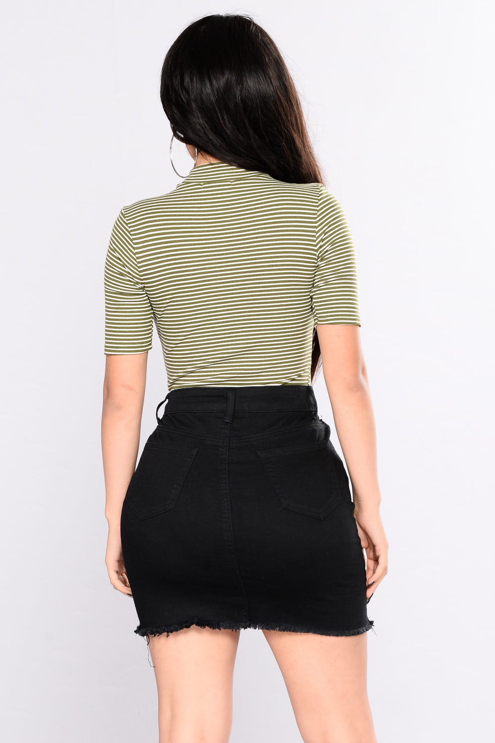 Ahead Of Yourself Stripe Bodysuit - New Olive / Soft White
