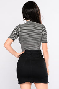 Ahead Of Yourself Stripe Bodysuit - Black/ Soft White