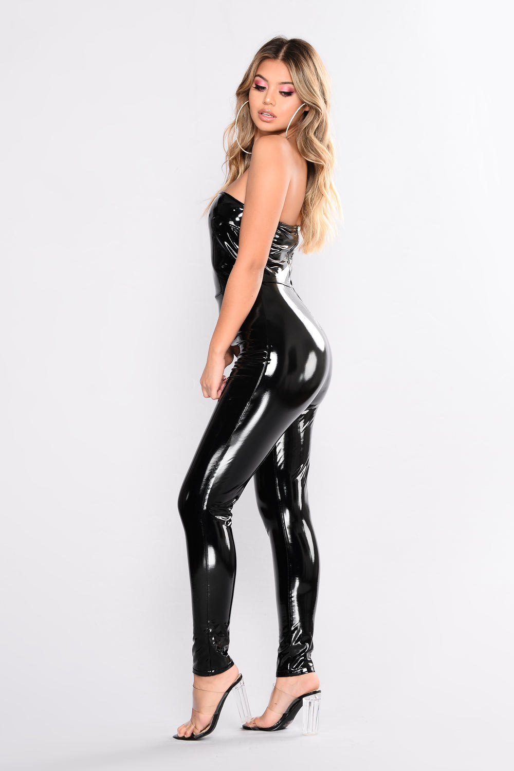 Thrilling Chase Latex Jumpsuit - Black