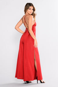 Straight From The Heart Slit Leg Jumpsuit - Wine
