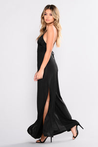 Straight From The Heart Slit Leg Jumpsuit - Black