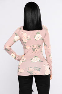 Do It My Way Floral Top - Mauve