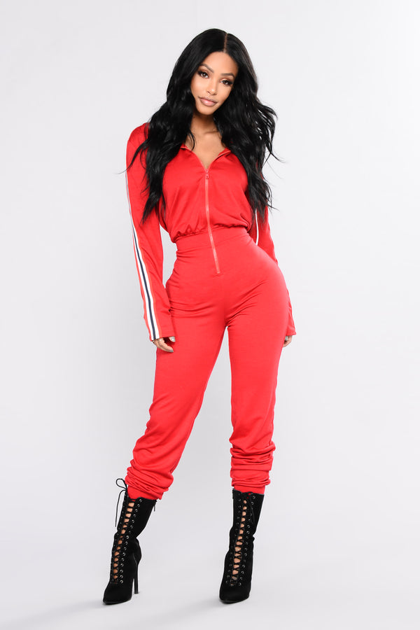 47b3eb57e3 Running Errands Stripe Trim Jumpsuit - Red