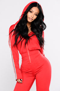 Running Errands Stripe Trim Jumpsuit - Red