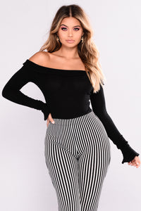 Sweet Rose Off Shoulder Bodysuit - Black