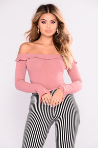Sweet Rose Off Shoulder Bodysuit - Dark Mauve