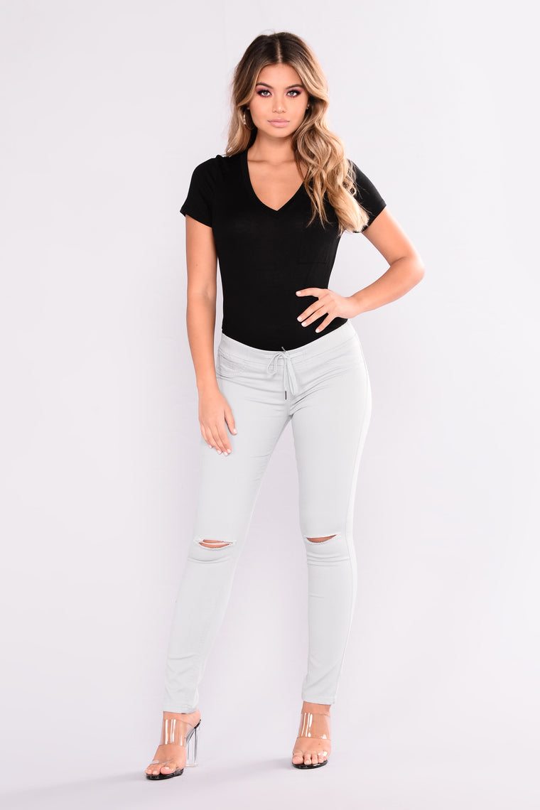 Out And About Knee Slit Pants - Light Blue