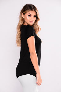Love My V Neck Tee - Black Angle 4