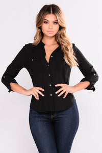 Janice Button Down Top - Black