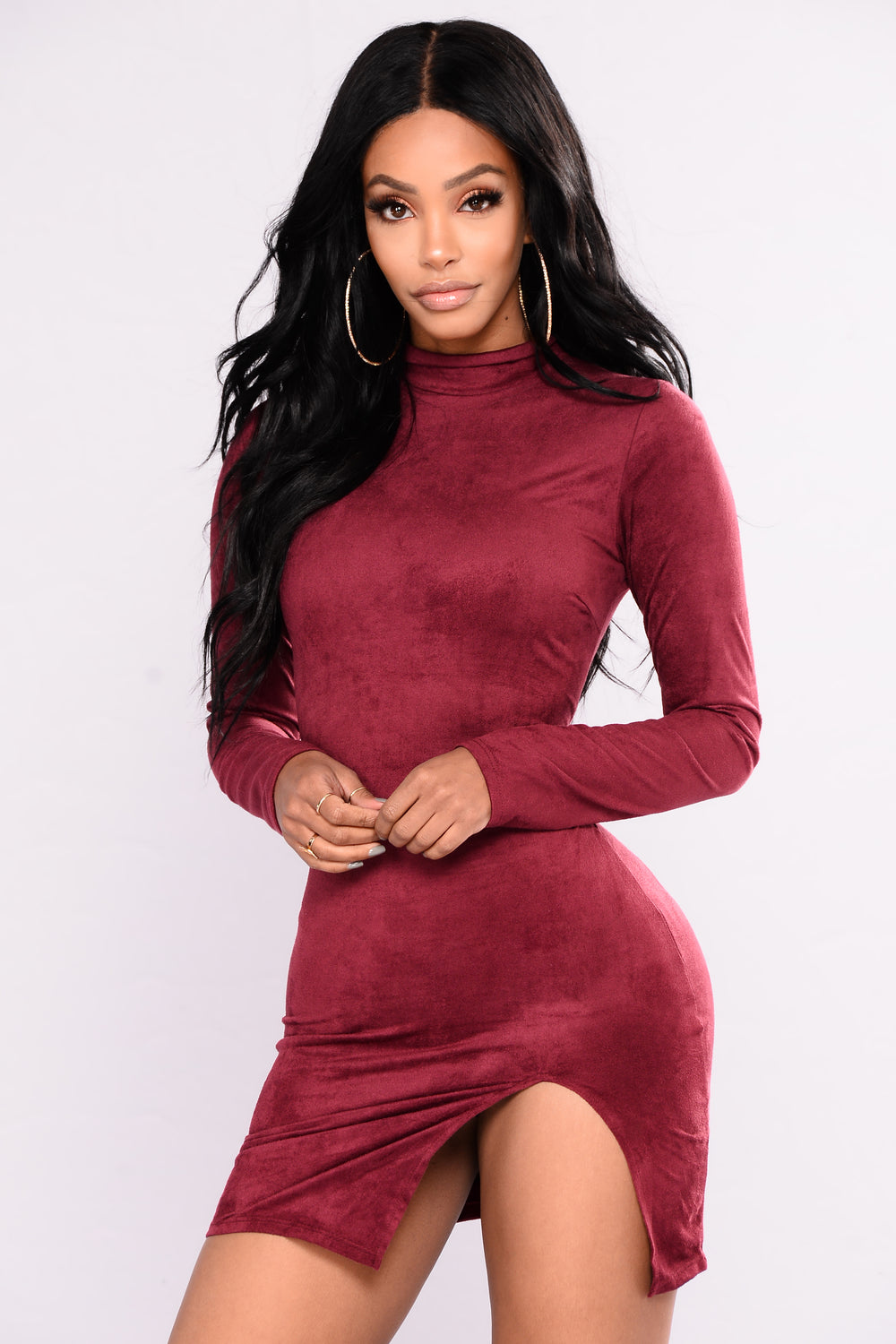 Bria Suede Dress - Burgundy