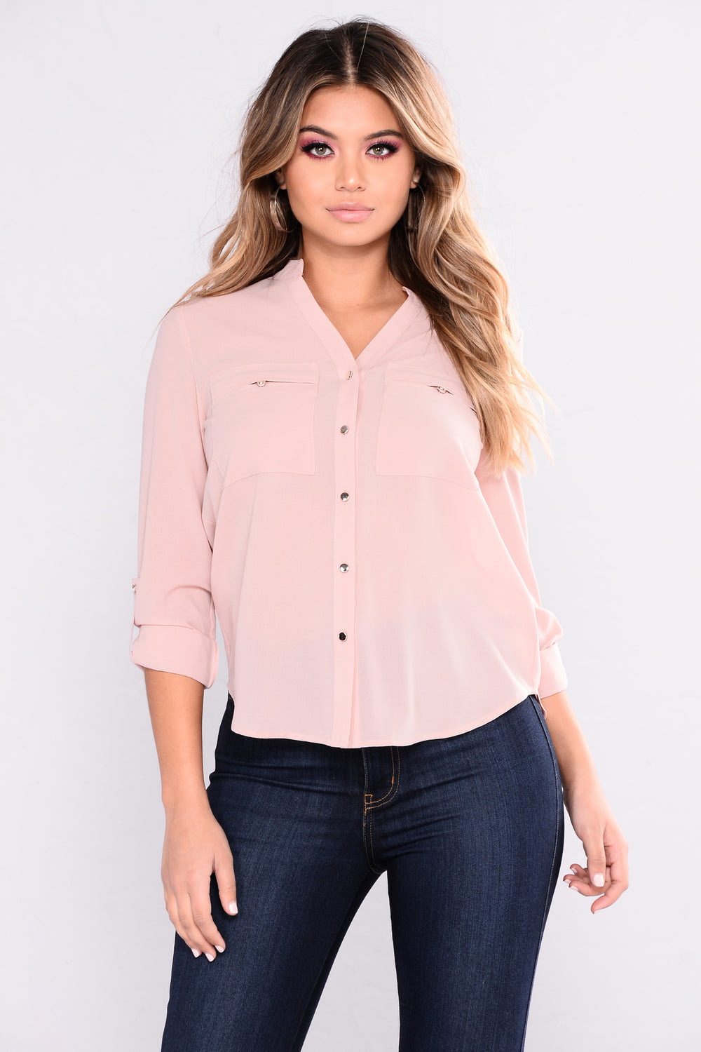 Janice Button Down Top - Rose