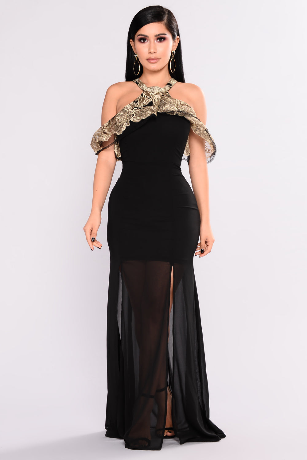Queenship Embroidered Dress - Black/Gold