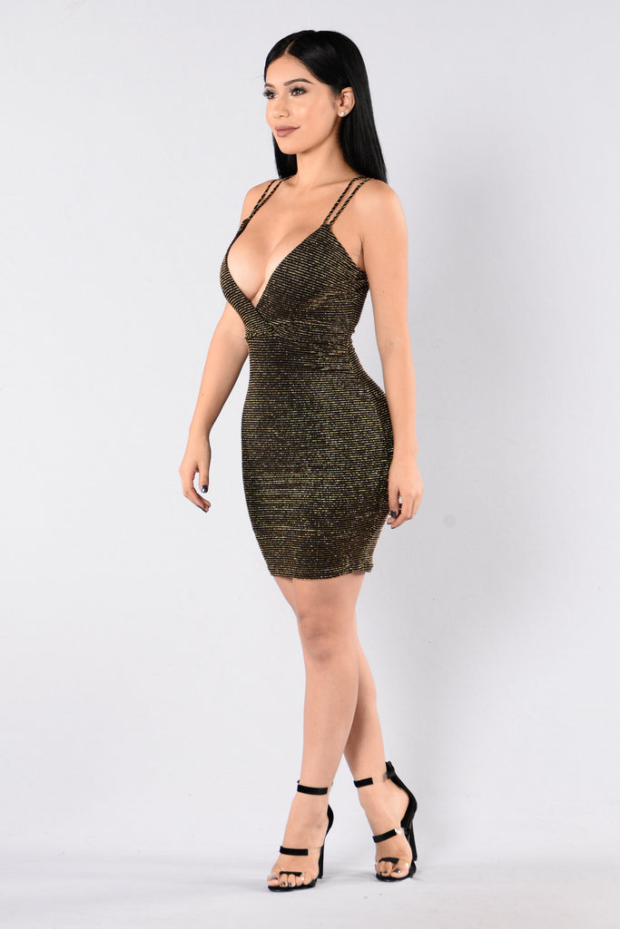 Do Your Dance Dress - Gold/Black
