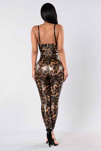 Party Animal Jumpsuit - Leopard