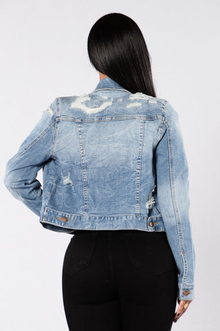 Long Distance Lover Denim Jacket - Medium Blue