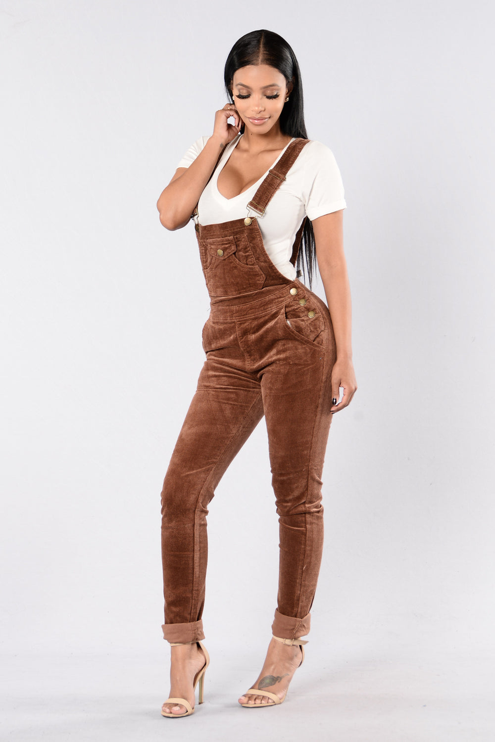 Corduroy Joy Overalls - Brown