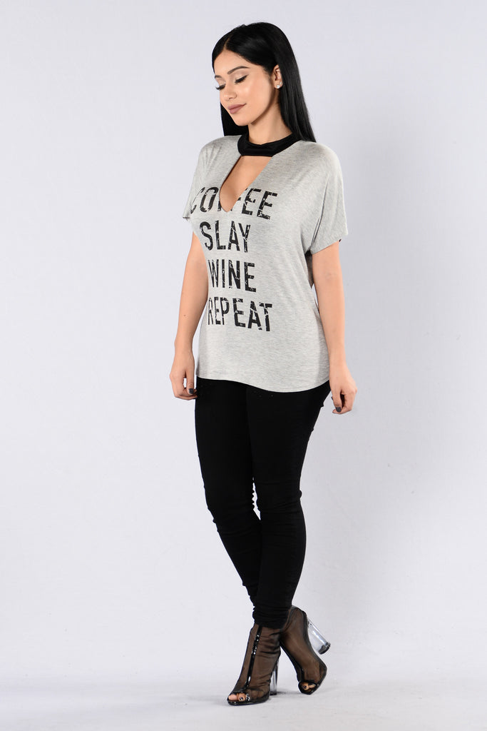 How Sweet It Is Top - Heather Grey/Black