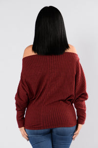 The Way You Stare Sweater - Burgundy Angle 2